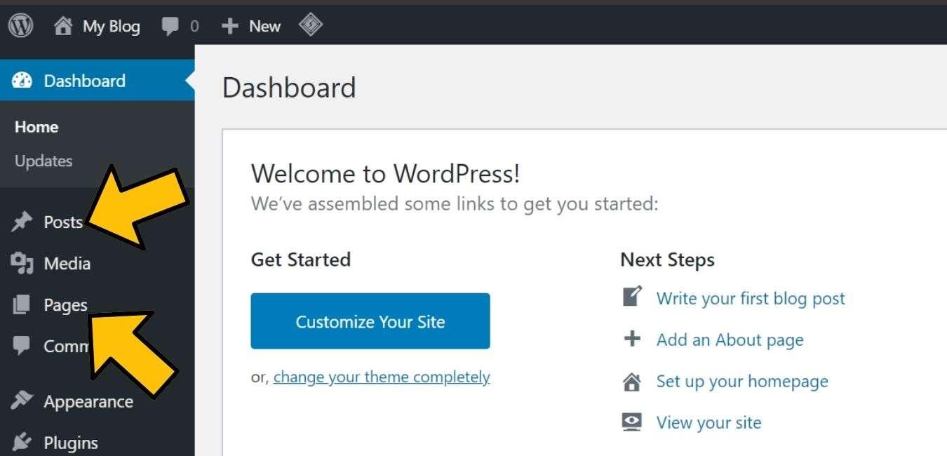 menu post dan pages di wordpress
