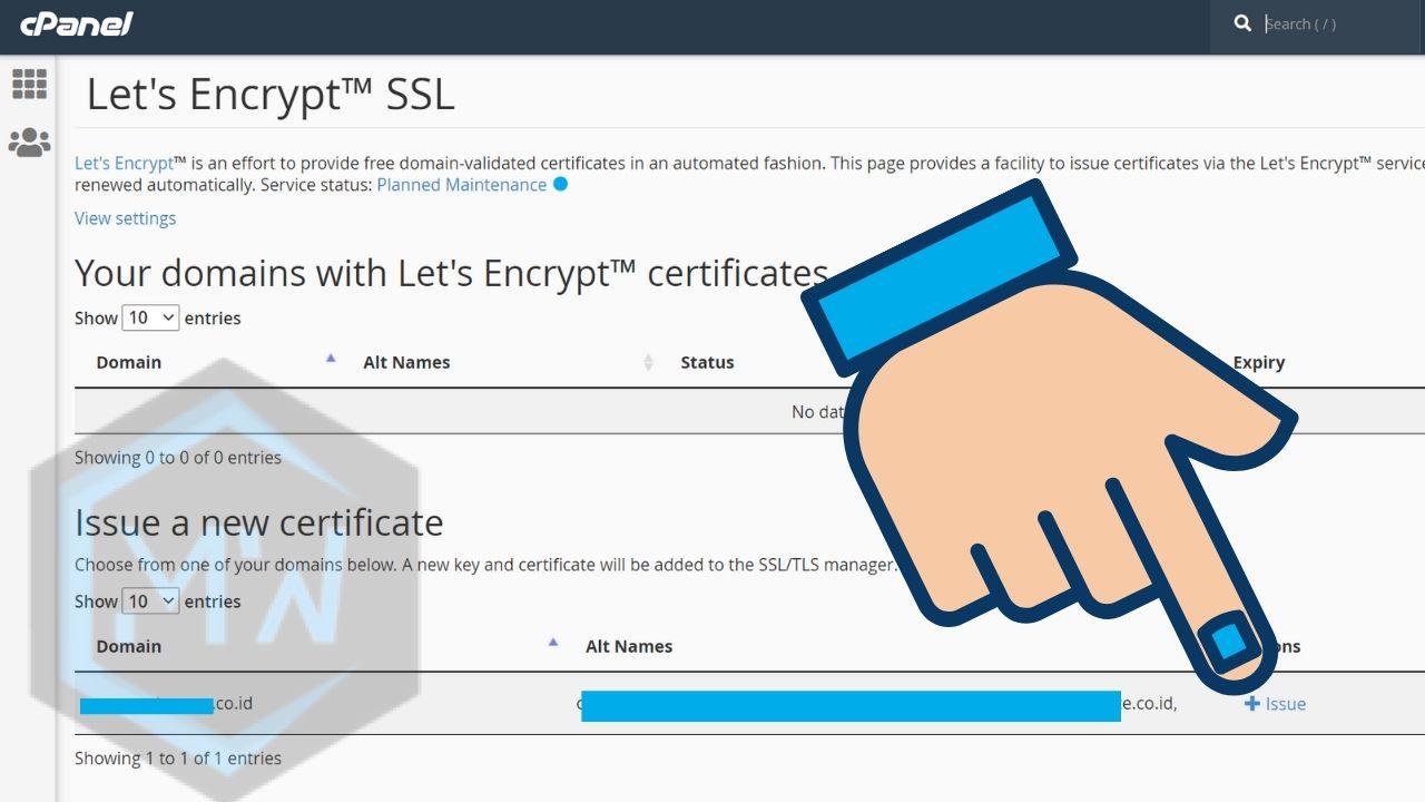 tambah ssl baru dengan lets encrypt