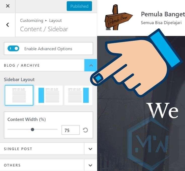pengaturan layout sidebar website wordpress