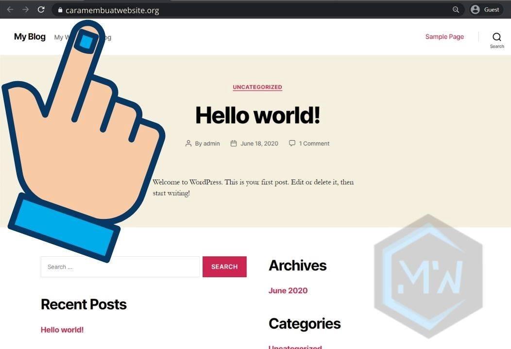 tampilan website wordpress awal