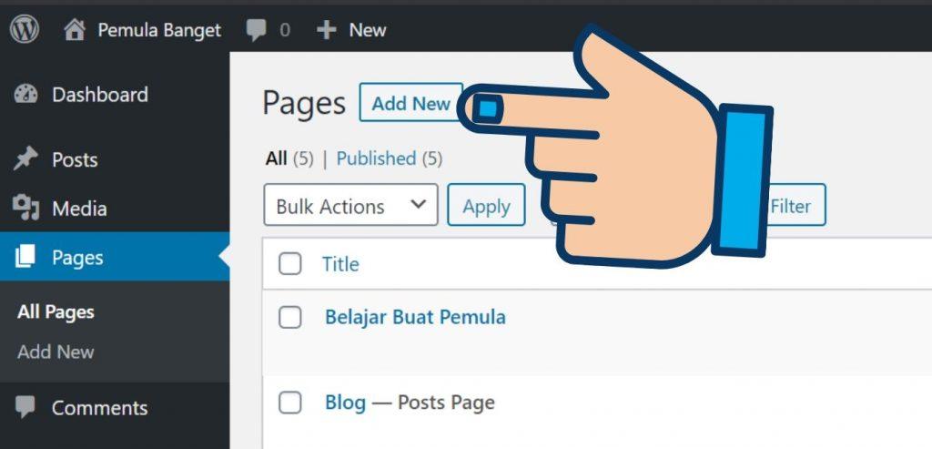 Tambah Pages di WordPress