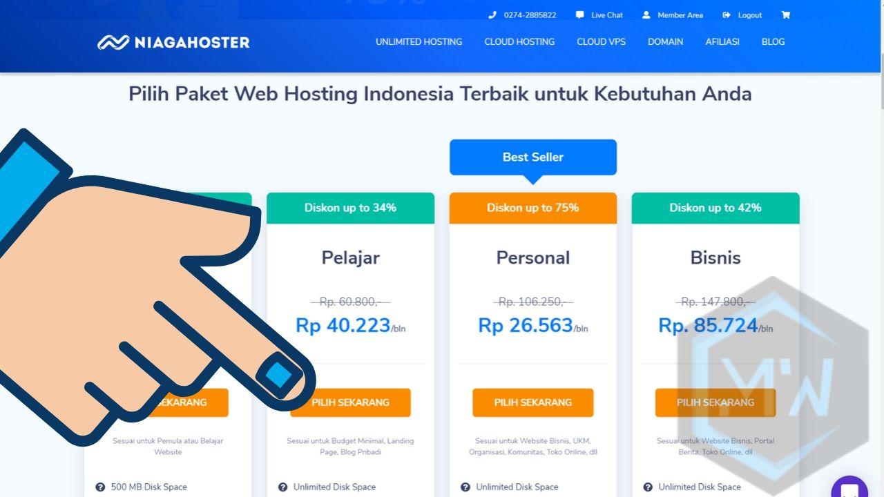 langkah 1 pilih paket hosting